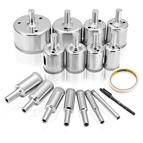 DRILLPRO Diamond Hole Saw, 15 Pcs Tile Hole Saw Drill Bit, Hole Remover Tools for Glass, Porcelain, Ceramic, Granite Stone Drill Bits 6-50mm ()
