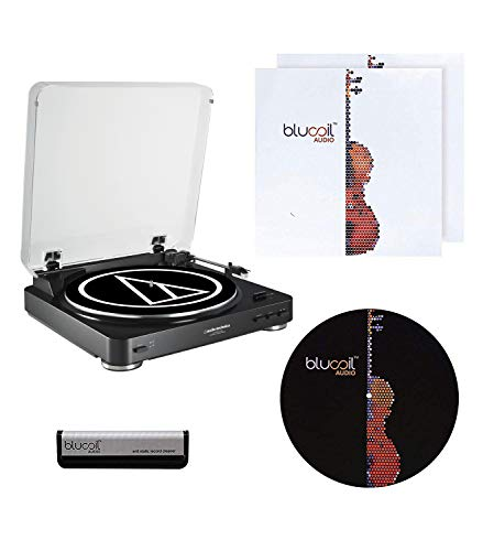 Audio-Technica AT-LP60-USB Belt-Drive Turntable with USB and Analog Outputs (Black) Bundle with Blucoil Vinyl Cleaning Brush, 12-inch Turntable Slipmat, and 2-Pack of LP Inner Sleeve for Vinyl Records (Drive Turntable Analog Belt)