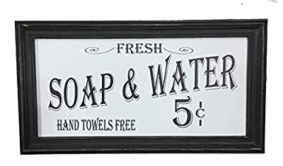 Ohio Wholesale Vintage Soap & Water Bath Sign Distressed Wood Old-Fashioned Script Country Decor
