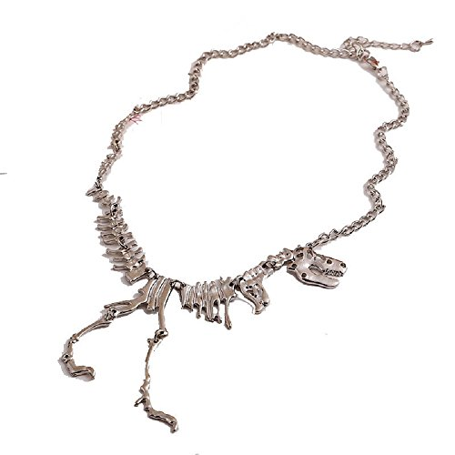 [Doinshop Alloy Dinosaur Skeleton Chain Necklace Tyrannosaurs T-Rex Collar Jewelry (silver)] (Skeleton Makeup)
