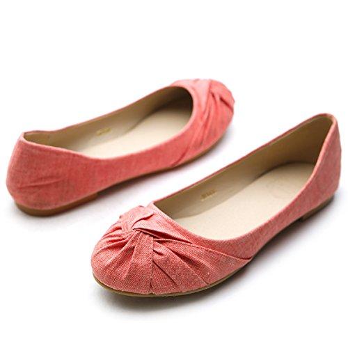 Ollio Womens Ballet Shoe Comfort Flat Orange TvYSye9nz