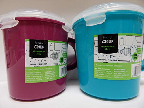 Family Chef Microwave Soup Mugs with Lid and Handle 2.94 cups/23.5 oz/695 ml Each (Set of Two: Magenta Purplish Pink/Teal Blue)