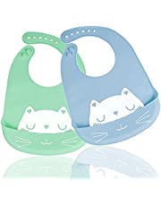 Silicone Baby Bib for Babies & Toddlers 6-72 months old BPA-free waterproof easy to wipe clean green and blue(2 Pack )
