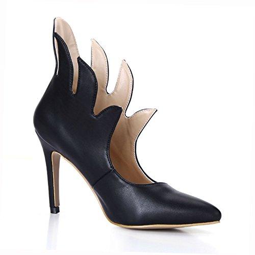 nouveau pointu ladies talon fille à boîtes boot sentiment chaussures Les large black haut Black hiver bottes bout du réformateur qzOaatFxEw