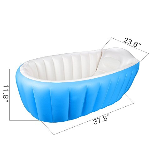 Inflatable Baby Bathtub,OIF Portable Kid Infant Toddler Thick Soft Cushion Air Swimming Pool Central Seat -