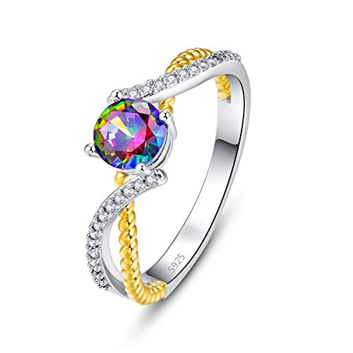 Emsione Women's 925 Silver Plated Round Created Rainbow Topaz Split Shank Swirl Bypass Ring Solitaire Size 6-9 (Baguette Swirl Bypass Ring)