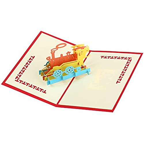 Creative 3D Happy Train Handmade Paper Greeting Card Birthday Cards Custom Gift Cards Sales