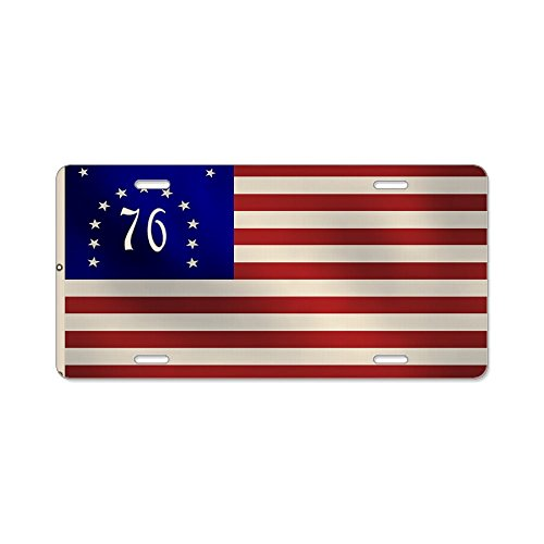 CafePress - Bennington 1776 Flag Aluminum License Plate - Aluminum License Plate, Front License Plate, Vanity Tag (1776 Bennington Flag)