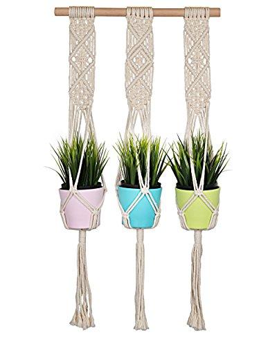Macrame Plant Hanger, Seavish Trible Outdoor Indoor Cotton Cord Flower Pot Holder Boho Wall Hanging for Garden Balcony Patio (31'') by Seavish