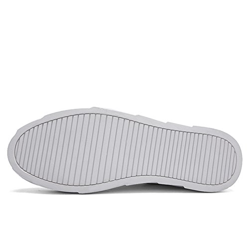 Gå Tour Mäns Vävt Läder Stickning Mode Sneakers Fritidsskor Vita 2