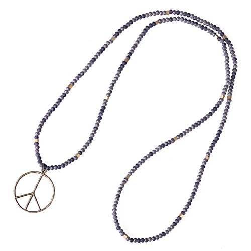 KELITCH Classic Peace Sign Love Hippie Pendant on Frosted crystal Beaded Necklace ()