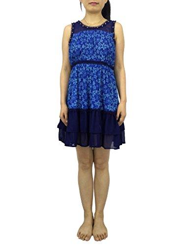 Buy blue floral print drop waist dress - 7