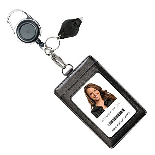 Genuine Leather ID Badge Holder Wallet with Heavy Duty Carabiner Retractable Reel