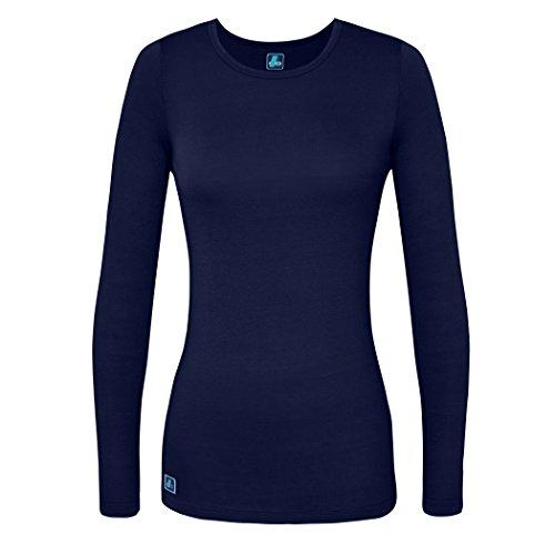 Adar Womens Comfort Long Sleeve T-Shirt Underscrub Tee - 2900 - Navy - 3X