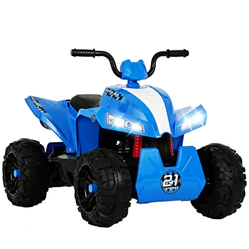 Uenjoy 12V Kids ATV 4 Wheeler Ride On Quad Battery Powered Electric ATV for Kids, 2 Speeds, Wheels Suspension, LED Lights, Music, Blue (Atv Boys)