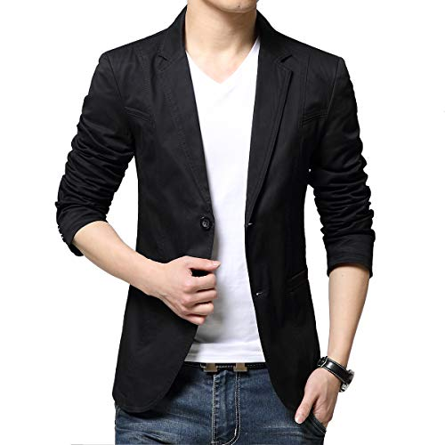 KIMILILY Sports Jacket for Men Cotton Blazer Jackets Two Button Casual Suit Coats Black