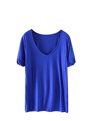 SheIn Women's Summer Short Sleeve Loose Casual Tee T-Shirt Royal# -