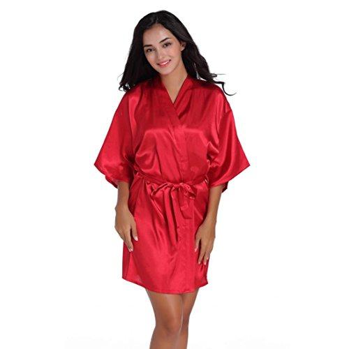 Déshabillé Chambre Femmes Peignoir Bain Rouge Satin Pour Aimee7 De Couleur Kimono Vêtements Nuit Robe Fête Pure Nuisette Femme Mariage Sortie La XPwWq4