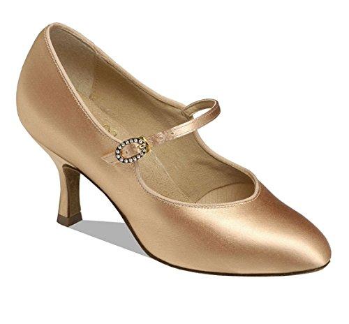 Chaussures De Bal Pour Femmes Supadance 1012 Avec Largeur Régulière Et 2 Talons Évasés Chair Satin