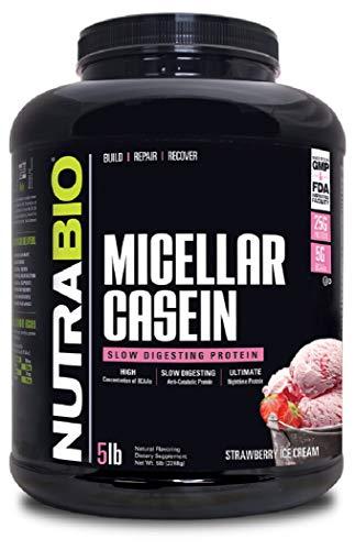 NutraBio 100% Micellar Casein - Slow Digesting Protein Powder (5 Pounds, Strawberry Ice Cream)