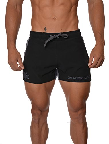 YoungLA Men's Bodybuilding Gym Running Shorts 101 Large Gray (Short Gym Shorts For Men)