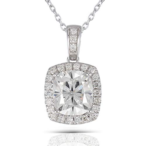 DOVEGGS Platinum Plated Silver Center 2ct 7X8mm H Color Cushion Cut Moissanite Halo Pendant Necklace