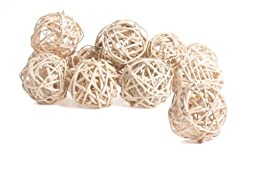 Factory Direct Craft Group of 12 Naturally Bleached Twig Balls for Home Decor, Vase Filler, and Crafting