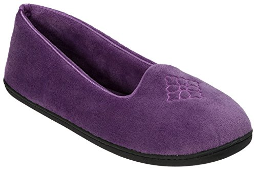 Micro Back Women's Velour Purple Slippers Dearfoams Smoked Closed Embroidered Hpw5CAq