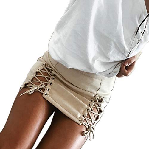 Mini Couleur Laçage Serré Sexy jupe Aiweijia Unie Aux Haute Femmes Creux Abricot Taille qSMUVzp