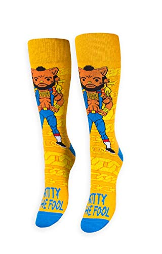 Freaker Feet Socks, Unisex Casual Dress Fun Colorful Cotton Socks, Mr. T I Kitty the Fool]()