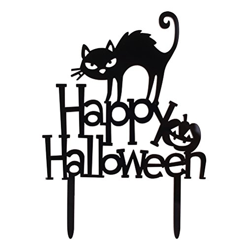 Yiphates Happy Halloween Cake Topper Black Cat Pumpkin Decorations for Halloween Festival Party (Happy Halloween Super Simple)