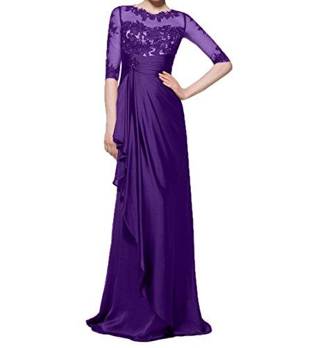 Chiffon Lila Charmant Damen Abendkleider Spitze Partykleider mit Brautmutterkleider Ballkleider Elegant Langarm wwOErnqFP