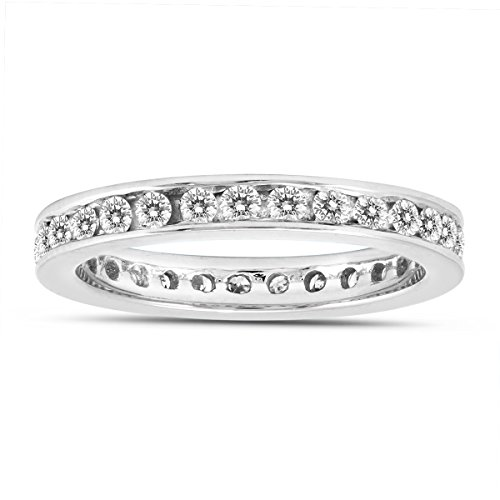 AGS Certified 1 Carat TW Channel Set Eternity Diamond Band in 10K White Gold (Set Channel Tw)