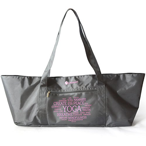 Aurorae Yoga Mat Tote Bag, Extra Wide to Fit Most Yoga Mats and Accessories, in Grey Heavy Duty Polyester