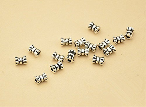 - 20pcs Thai Sterling Silver Small Tube Beads 925 Thai Silver Mini Tube Spacers 3.3mm*4.5mm (T009T)