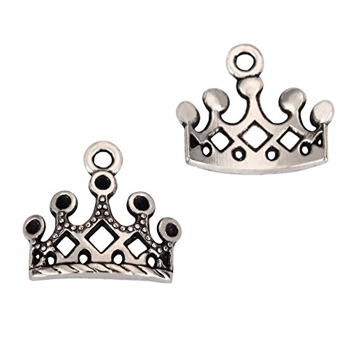 20 x Crown Charms 10mm Antique Silver Tone for Bracelets Necklaces Earrings #mcz965