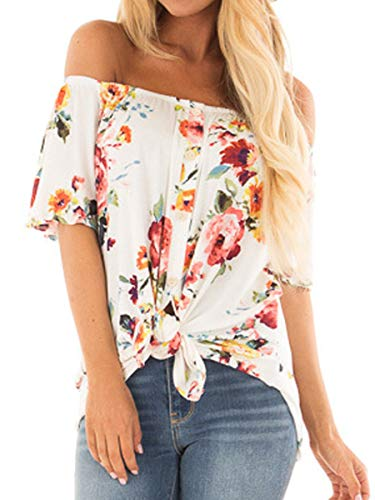 (Womens Summer Off The Shoulder Tops Casual Short Sleeve Floral Shirt M)