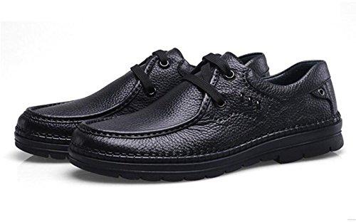 GRRONG Zapatos De Cuero De Los Hombres De Cuero De Vaca Ocio Negocios Transpirable Negro Marrón Black