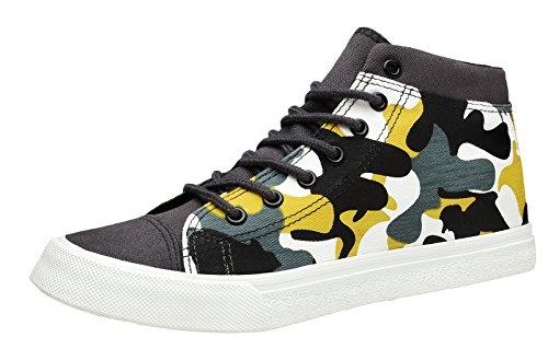 Louechy Menns 768-mc Klassiske Canvas Sko Mid Mote Sneaker Blonder-up Grå