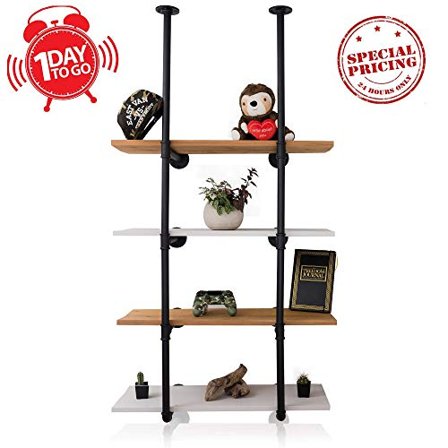 Industrial Pipe Shelving - Black Rustic Floating Wall Shelf - Mount Up to 4 Shelves - Vintage Farmhouse Decor for Kitchen, Bedrooms, Bathroom, Living Room Ladder Bookshelf - Wood Planks not Included ()