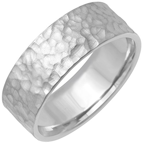 Platinum Center Stripe Men's Hammered Finish Comfort Fit Wedding Band (8mm) Size-9c1