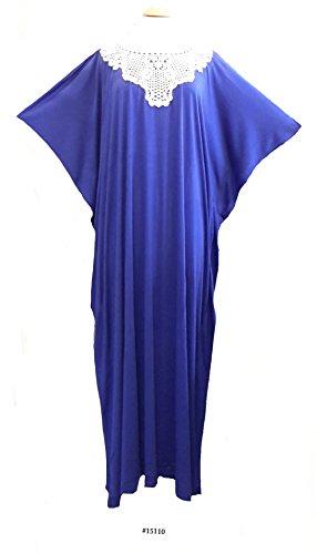 "(44634) Damen Violet Baumwolle Woven Print Short Sleeves Long Caftan/Kaftan. 15"" Zip on Front with 2 Side Pockets. One Size Fit UK 10-26"