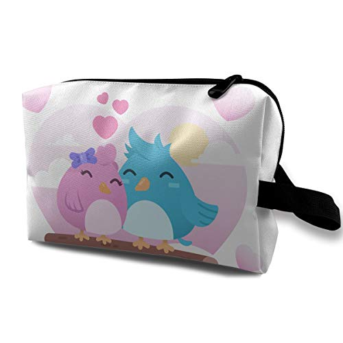 (LEIJGS Two Cute Birds in Love Small Travel Toiletry Bag Super Light Toiletry Organizer for Overnight Trip)
