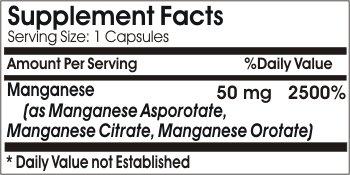 Manganese Asporotate 50mg ~ 200 Capsules - No Additives ~ Naturetition Supplements