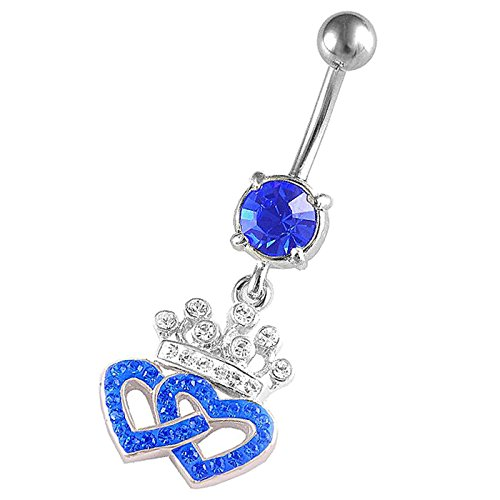 14Gauge 3/8 Crown Heart dangle belly dangling navel button ring dangly bar piercing ASEX Piercing Jewelry ()