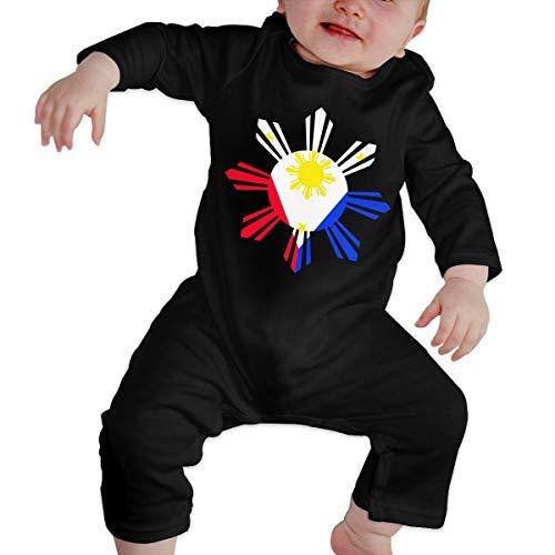 Long Sleeve Cotton Bodysuit for Baby Girls Boys, Cute Philippine Sun Flag Crawler Black -