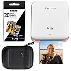 Turn smartphone selfies into peel-and-stick prints with this Canon mini photo printer. It connects to a smartphone app that lets you personalize your snaps with emojis, stickers, frames and text before printing. This Canon mini photo printer ...