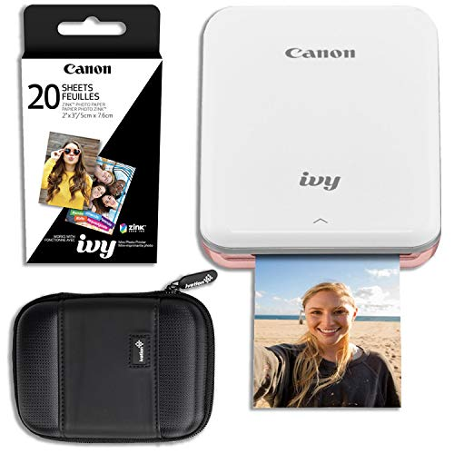 Canon Ivy Mini Wireless Photo Printer (Rose Gold) with 20 Prints and Carrying Case (Mini Wireless Printer)