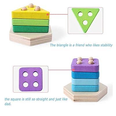 Wadonerful Wooden Stacked Blocks Geometric Shape Puzzle Toys Set Baby Cognitive Educational Building Blocks for Kids (One Size, B): Clothing