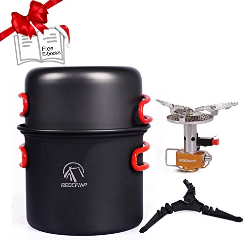 REDCAMP Camping Cookware Mess Kit with Stove,800ml(28oz) for 1 Person Ultralight & Foldable Backpacking CookSet, Free Sporks&Tripod